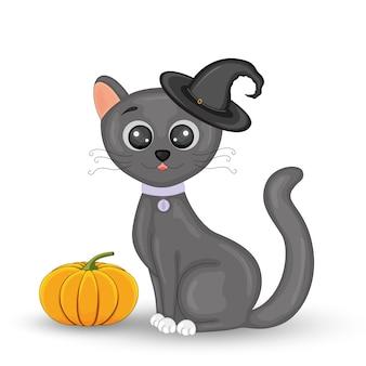 Chat dans un chapeau de sorcière noir avec une citrouille. chat sorcière halloween.