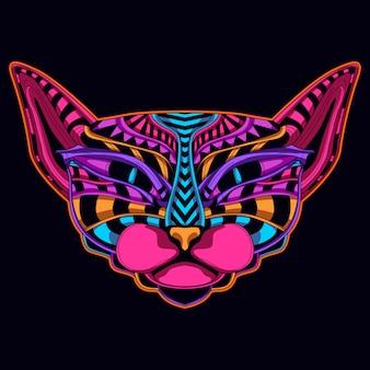 Chat dans le style de couleur néon