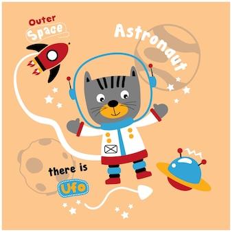 Chat le dessin animé animal drôle d'astronaute