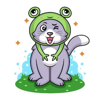 Chat avec dessin animé de costume de grenouille. illustration d'icône animale