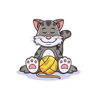 Chat avec dessin animé de fil de laine. vecteur animal