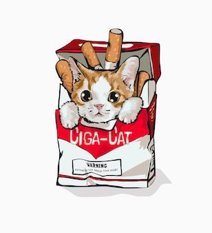 Chat de dessin animé en illustration de boîte à cigarettes