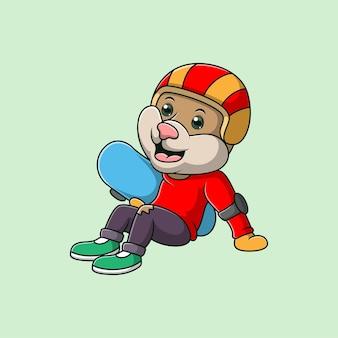 Chat de dessin animé joue à la planche à roulettes