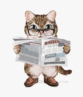 Chat de dessin animé lisant une illustration de journal