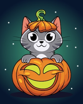 Chat de dessin animé mignon avec citrouille, illustration de jour d'halloween.