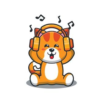 Chat de dessin animé mignon écoutant de la musique avec un casque