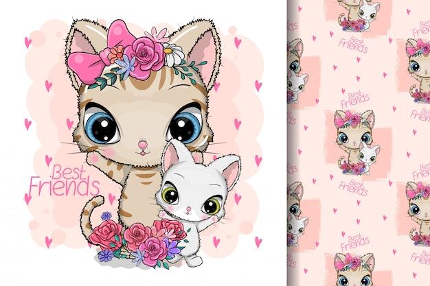 Chat de dessin animé mignon avec des fleurs