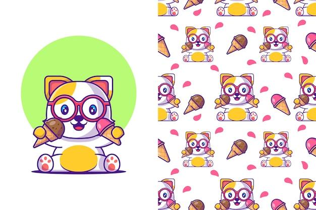 Chat de dessin animé mignon modèle sans couture avec de la crème glacée