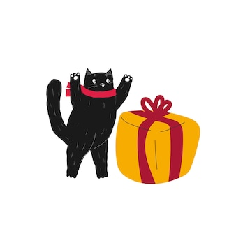Chat de dessin animé mignon de noël nouvel an avec des cadeaux animaux dessinés à la main hiver vacances de décembre