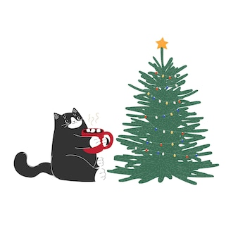 Chat de dessin animé mignon noël nouvel an avec tasse et arbre animal dessiné à la main hiver vacances de décembre