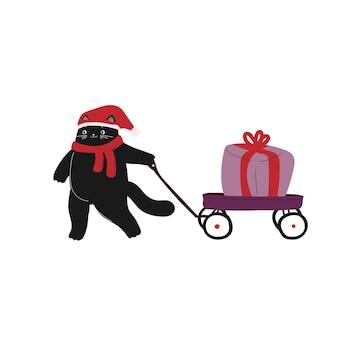 Chat de dessin animé mignon noël nouvel an avec wagon animal dessiné à la main hiver vacances de décembre
