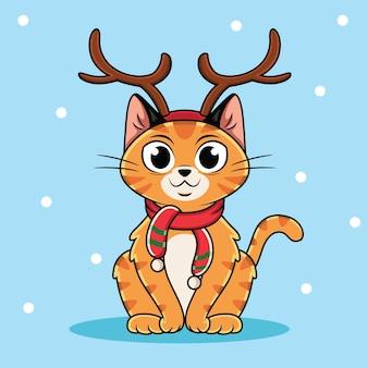 Chat de dessin animé portant des vêtements de noël avec fond de neige