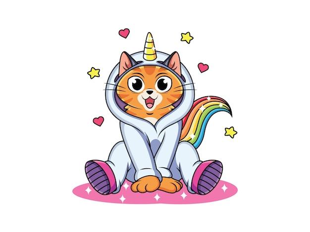 Chat de dessin animé porter un costume de licorne mignon