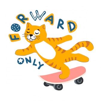 Chat de dessin animé rousse sur une planche à roulettes. lettrage vlog