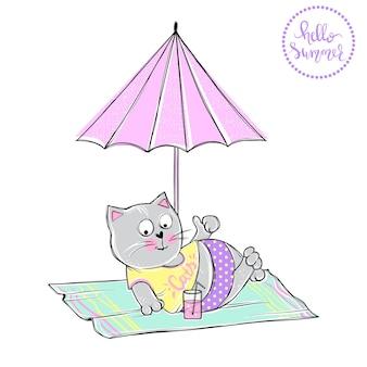 Chat de dessin animé de vecteur sur la plage. chaton d'été. illustration d'animaux drôles. conception de style de croquis à la mode sur une impression de t-shirt, des cartes, une affiche. kitty de griffonnage.