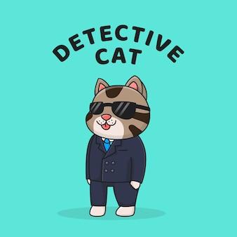 Chat détective mignon avec costume et lunettes