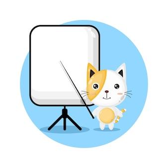 Le chat devient un logo de personnage mignon d'enseignant