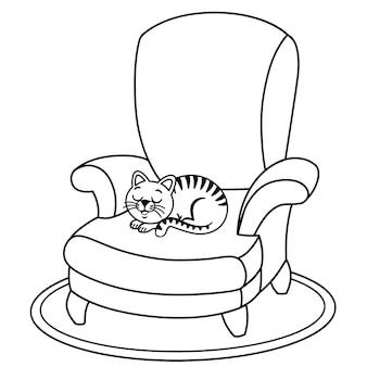 Chat domestique noir et blanc se repose sur le fauteuil illustration vectorielle