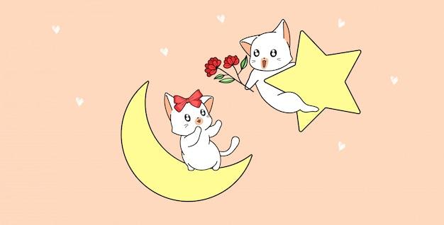 Le chat donne des fleurs à l'autre chat sur l'étoile et la lune