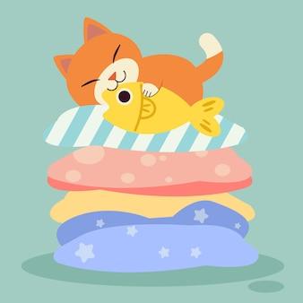Chat dormant sur l'oreiller