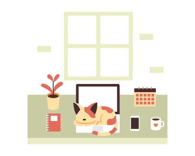 Un chat dort sur un concept d'illustration d'ordinateur portable