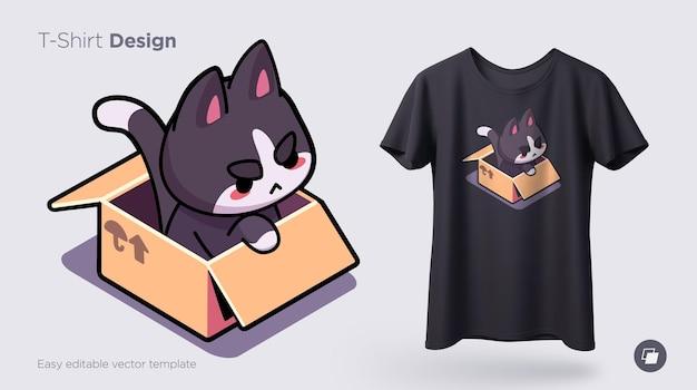 Chat drôle assis dans une boîte en carton imprimer sur des t-shirts sweat-shirts cas pour téléphones mobiles