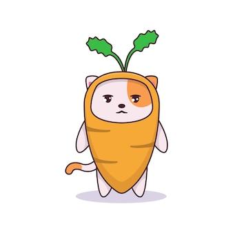 Chat drôle mignon en illustration de costume de carotte