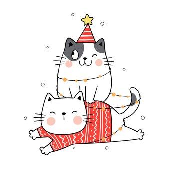 Chat drôle pour noël et nouvel an.