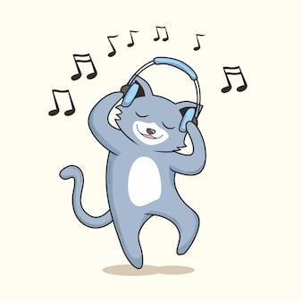 Chat écouter musique dessin animé mignon danse chatte chat
