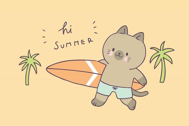 Chat d'été mignon de bande dessinée et vecteur de surf.