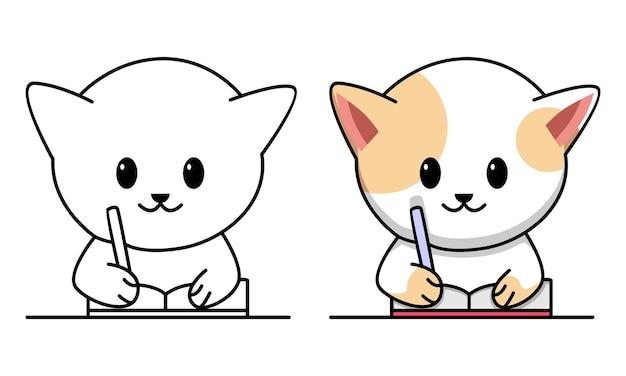 Chat étudiant la page de coloriage pour les enfants