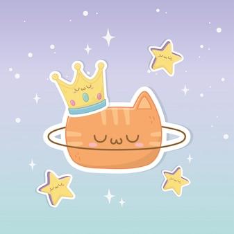 Chat de fantaisie drôle avec personnage kawaii couronne