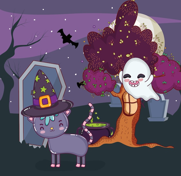 Chat et fantôme halloween
