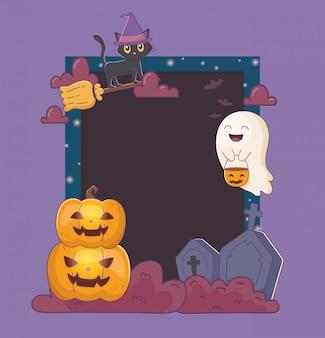 Chat, fantômes, citrouilles, pierre tombale, cadre, halloween