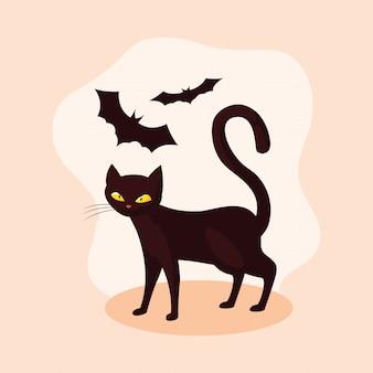 Chat félin animal d'halloween avec des chauves-souris volantes
