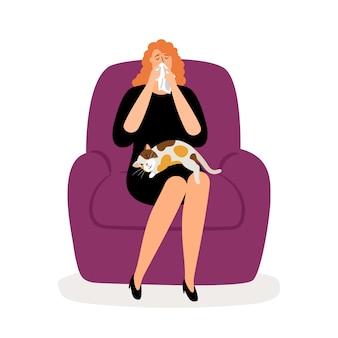 Chat et femme déprimée