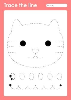 Chat - feuille de calcul préscolaire de lignes de traçage pour les enfants pour la pratique de la motricité fine