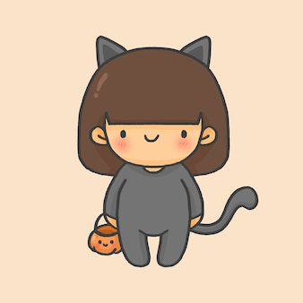 Chat fille kid costume halloween style cartoon dessiné à la main