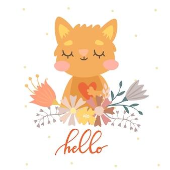 Chat en fleurs