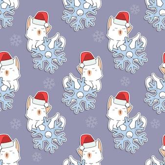 Chat et flocon de neige de modèle sans couture