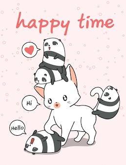 Chat géant et petits pandas