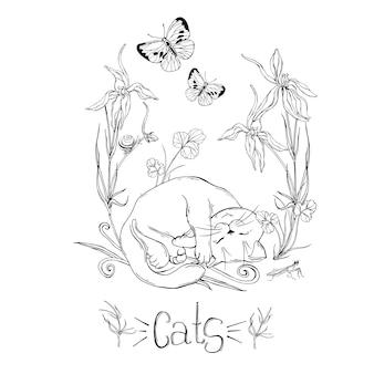 Chat graphique avec des fleurs sauvages avec des insectes