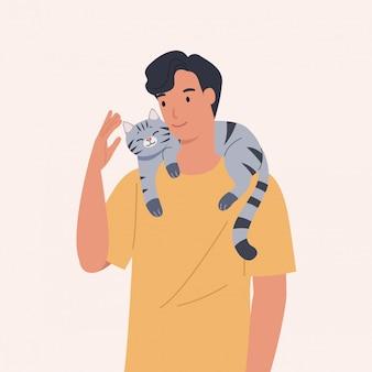 Un chat grimpe sur l'épaule d'un homme. portrait de l'heureux propriétaire d'animaux. illustration vectorielle dans un style plat