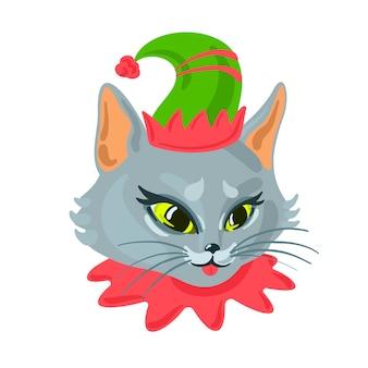 Chat gris en costume d'elfe animal de compagnie de noël carte de noël de vecteur avec un animal mignon