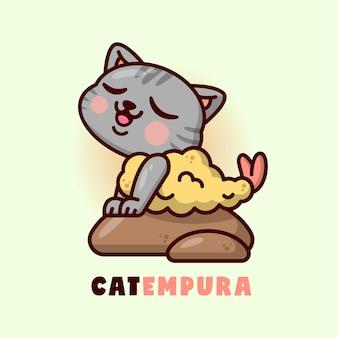 Chat gris mignon en costume de tempura assis sur une grande pierre.