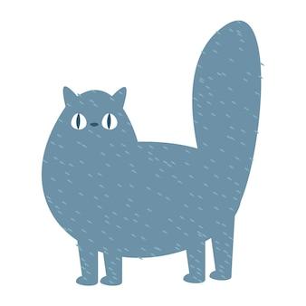Chat gris plat drôle de bande dessinée illustration vectorielle dans un style enfantin de dessin animé