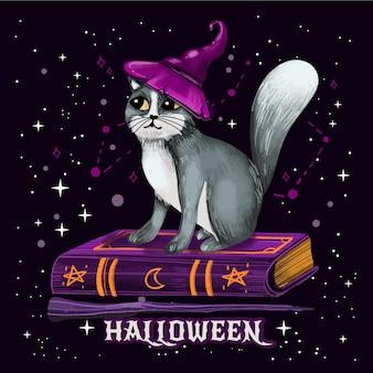 Chat d'halloween aquarelle