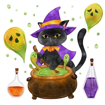 Chat d'halloween aquarelle