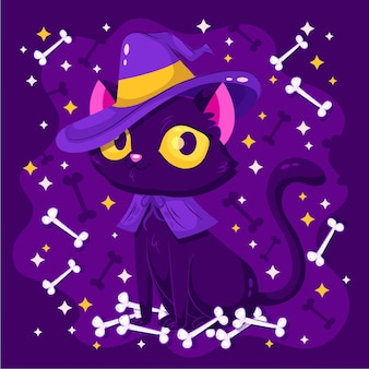 Chat d'halloween au design plat