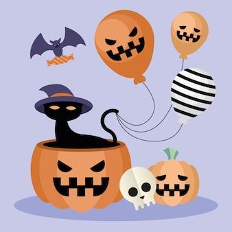 Chat d'halloween sur la conception de citrouille et de ballons rayés, thème effrayant
